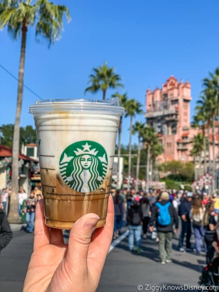 Starbucks coffee in front of Tower of Terror
