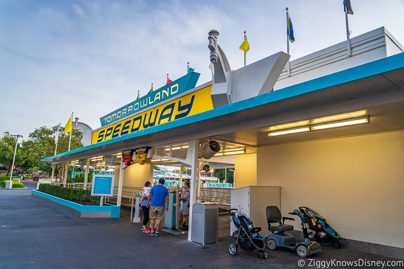 Outside Tomorrowland Speedway early in the morning