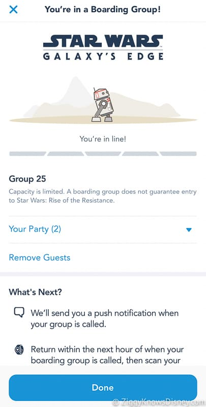 My Disney Experience Disney Virtual Queue notifications