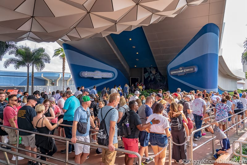 long line outside Spaceship Earth