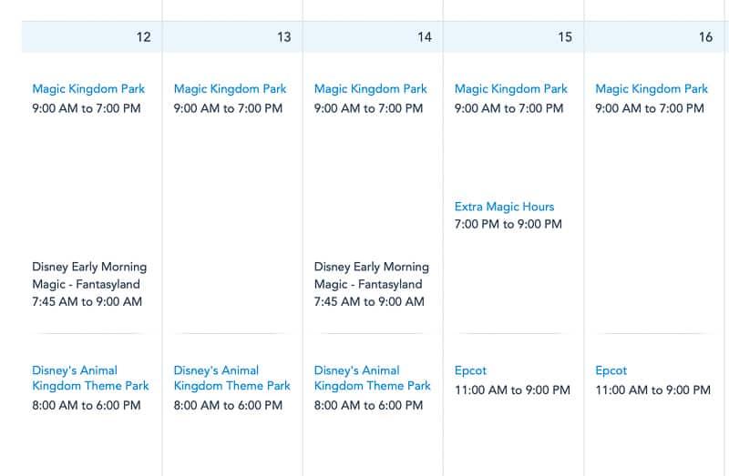 Disney World park calendar after reopening