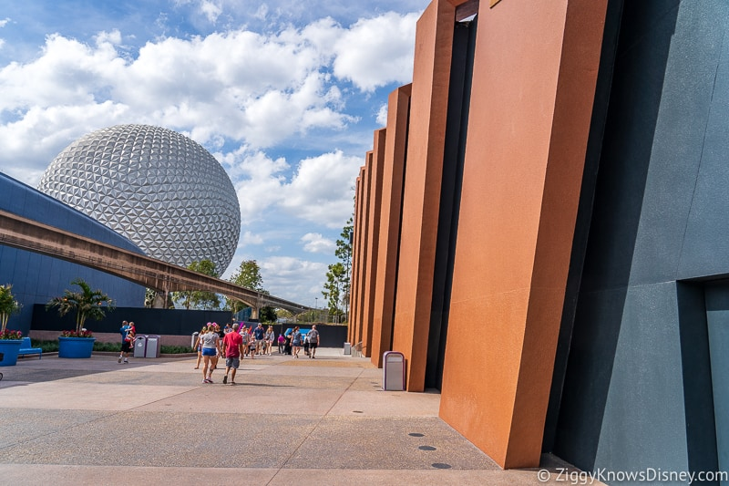 view of Spaceship Earth in EPCOT near Guardians of the Galaxy coaster