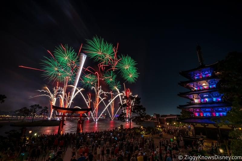 fireworks in EPCOT Japan pavilion