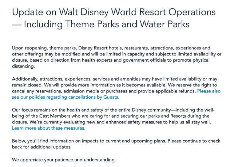 Disney World closure statement
