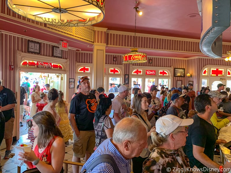 long line at Casey's Corner Magic Kingdom