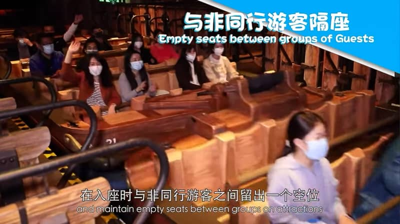 Keeping distances seated on attractions in Shanghai Disneyland