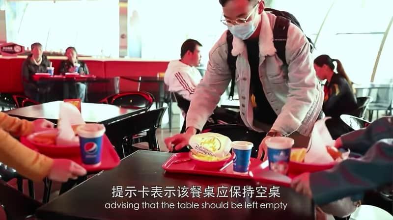 distancing between tables in Shanghai Disneyland