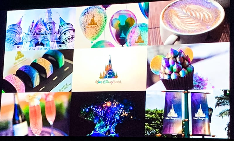 preview of Disney World 50th anniversary colors and theme