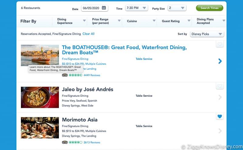 Disney Dining Reservations online restaurant list