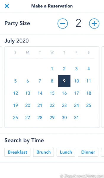 My Disney Experience dining reservation dates
