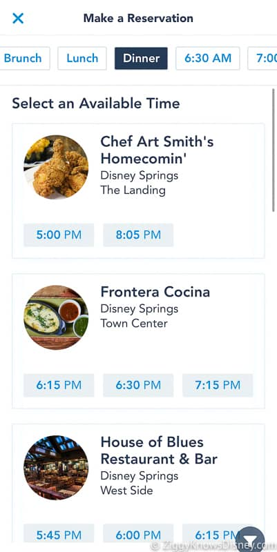 select restaurant My Disney Experience