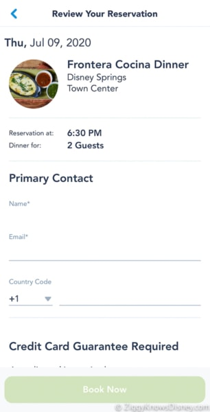 insert primary contact disney dining reservations My Disney Experience
