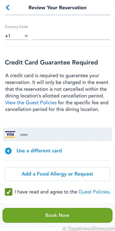 confirm credit card Disney dining reservation My Disney Experience