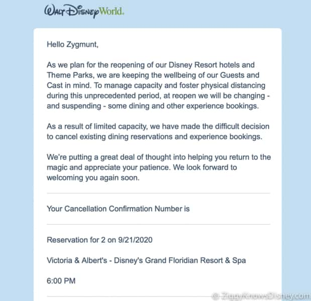 Disney World reopening cancellation Disney Dining Reservation