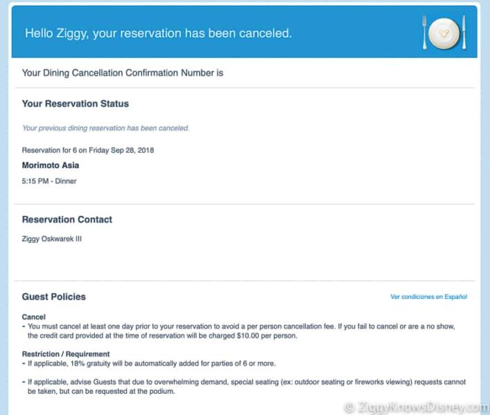 Disney World Dining reservation cancellation