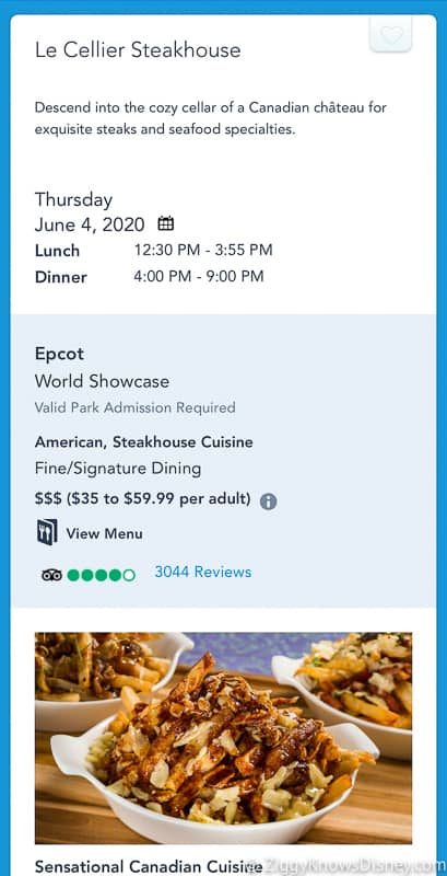 looking at dining reservations My Disney Experience