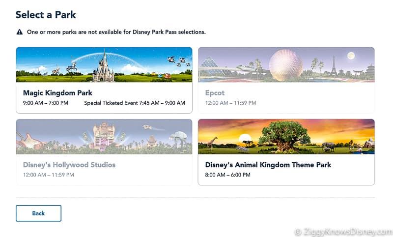 Select a Park Disney Park Pass Reservation Screenshot