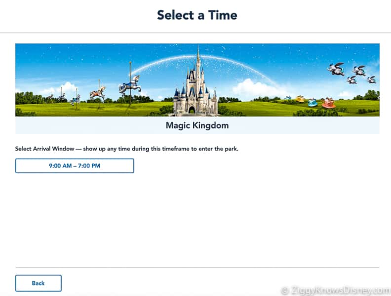 Select time Disney Park Pass Reservation Magic Kingdom Screenshot