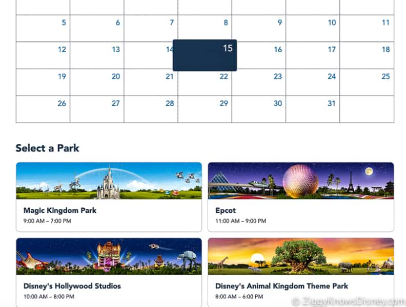Disney Park Pass Reservation Screenshot select a date and park