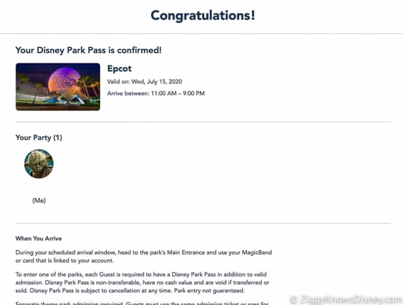 Disney Park Pass Reservation confirmation Screenshot EPCOT