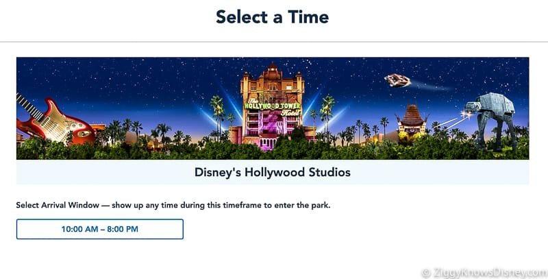 Disney Park Pass Reservation Hollywood Studios select a time Screenshots