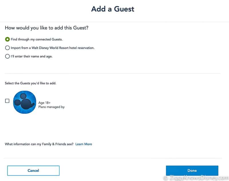 Disney Park Pass Add a Guest