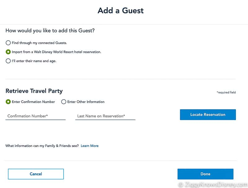 Disney Park Pass Reservations Add a Guest Import from reservation