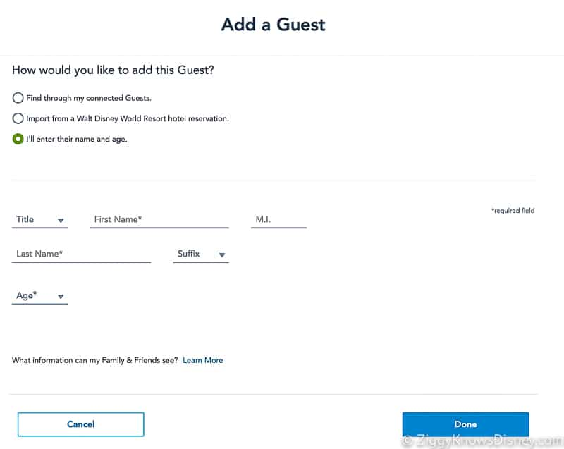 Add a Guest Disney Park Pass Reservations Enter name and info