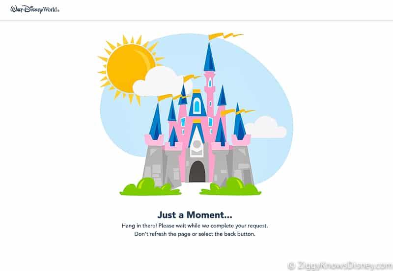 Just a moment waiting screen Disney Park Pass Reservations website