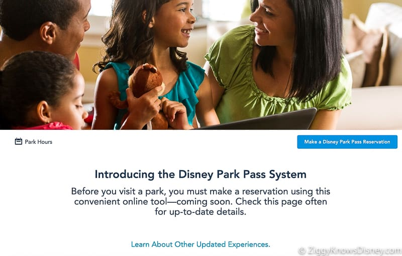 introducing the Disney Park Pass System website screenshot