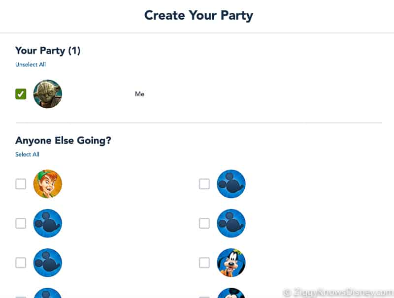 create your party Disney Park Pass reservations website