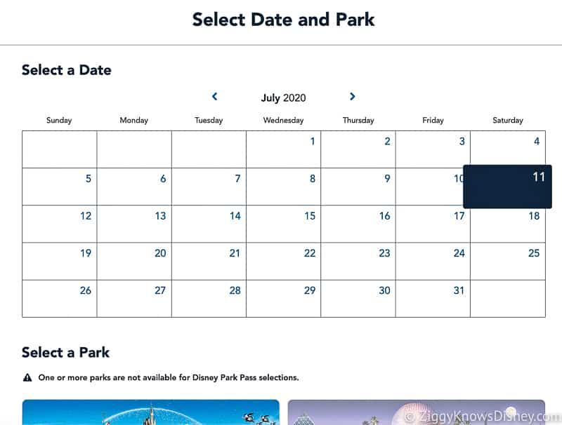 Select Date and Park Disney Park Pass Reservation Screenshot