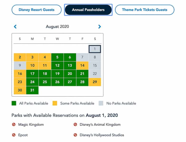 Annual Passholder availability Disney Park Pass Reservations