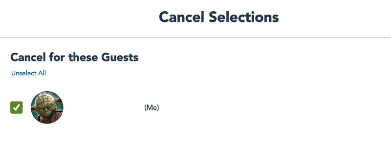 Confirm cancellation Disney Park Pass Reservations