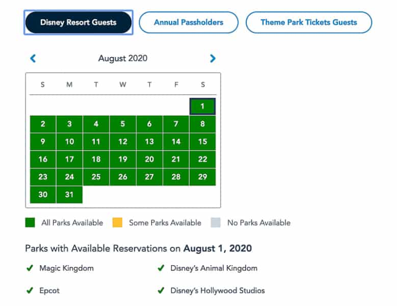 Disney Resort Guests availability Disney Park Pass Reservations