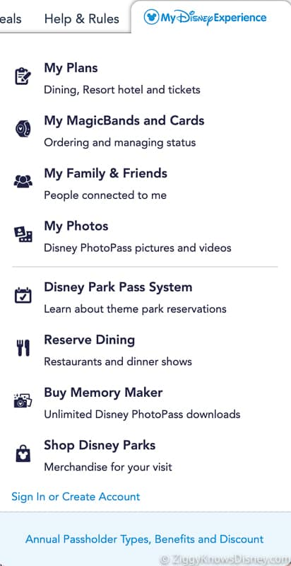 My Disney Experience Drop-Down Menu Disney Park Pass System