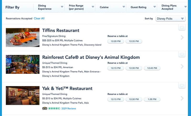 dining reservations Animal Kingdom