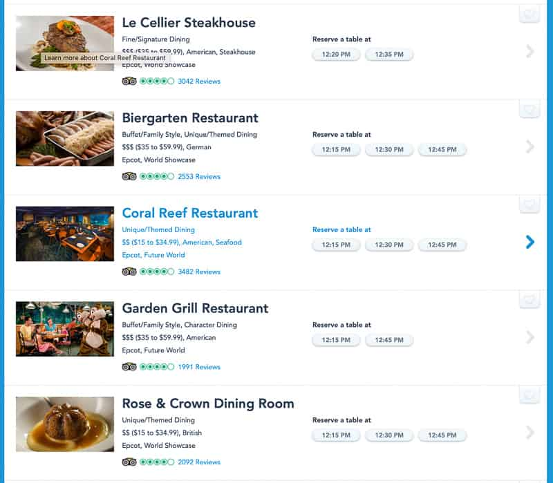 dining reservations EPCOT