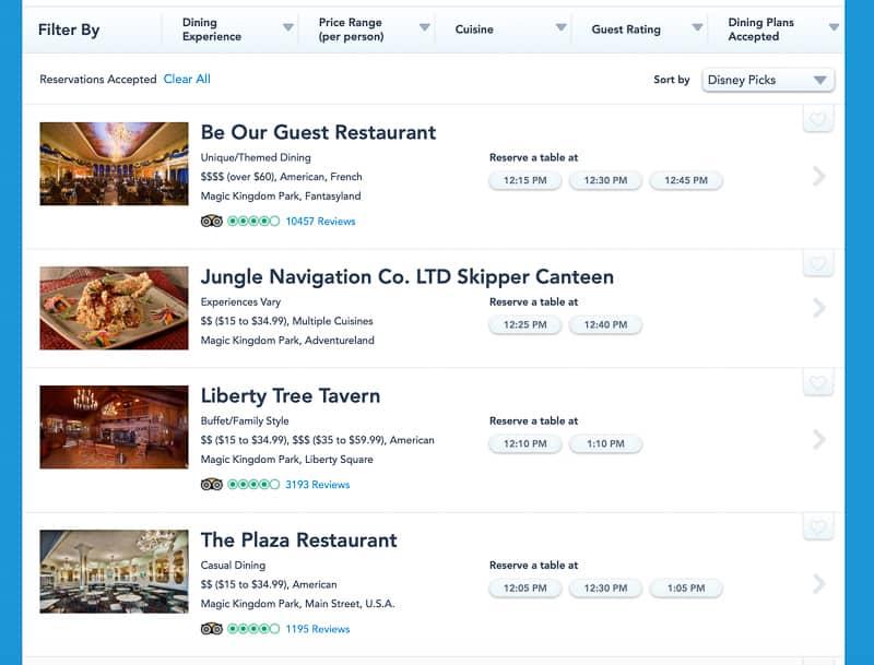dining reservations Magic Kingdom