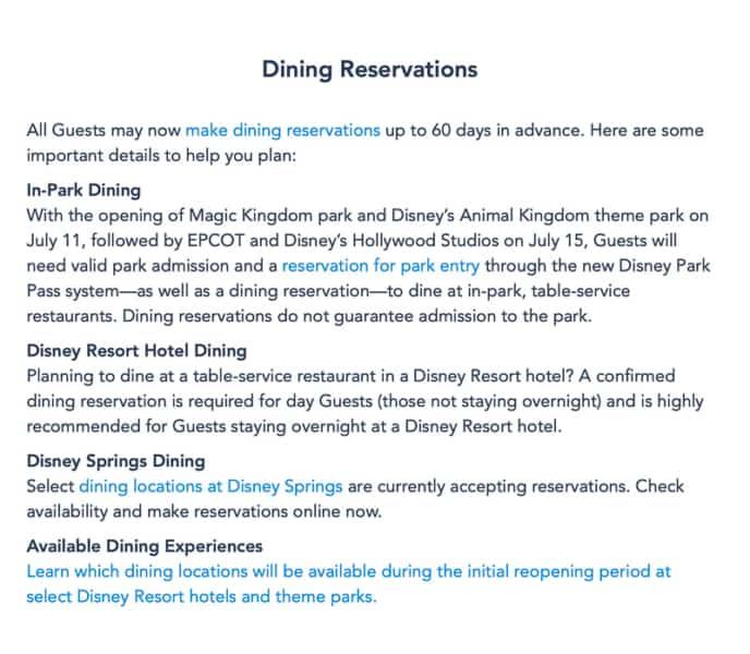 Disney World Dining Reservation notice