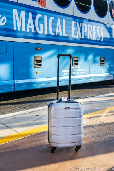 suitcase in front of Disney's Magical Express