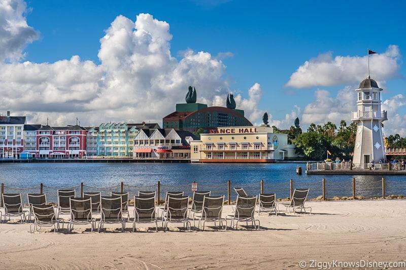 Disney World Hotels reopening Beach Club beach looking at Boardwalk