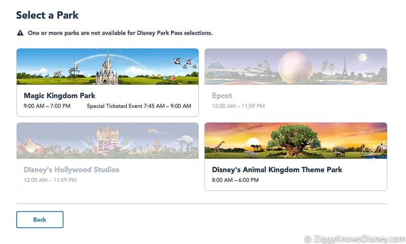 Disney Park Pass Reservations select park screen