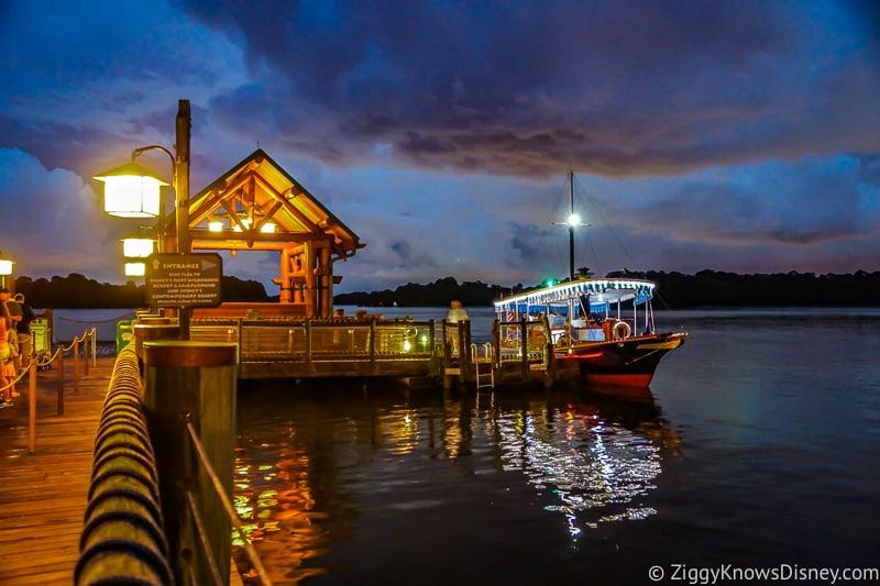 Disney World transportation boat docked at Wilderness Lodge