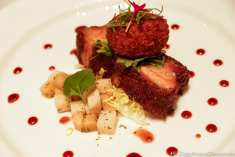 white plate of pork belly at Walt Disney World