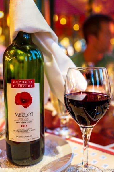 Glass and bottle of wine in Walt Disney World Restaurants