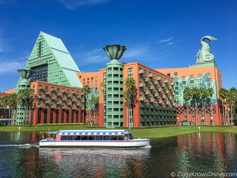 Disney World Dolphin hotel from the water