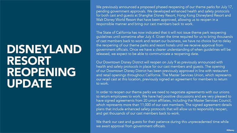 Disneyland Reopening postponed
