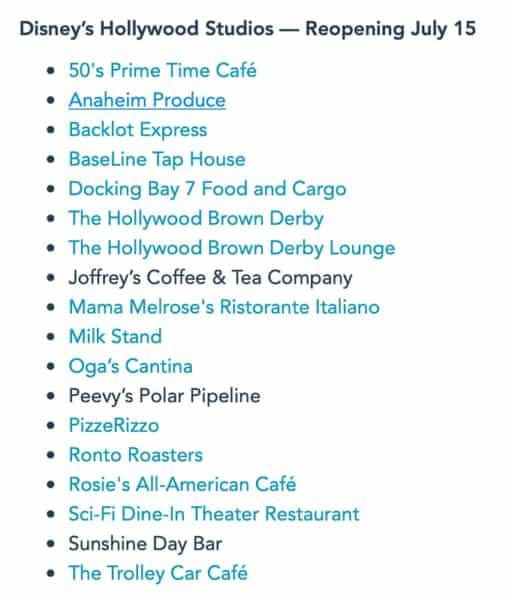 reopening restaurants Hollywood Studios list