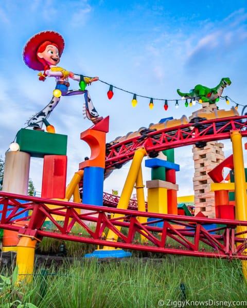 Jessie and Rex on Slinky Dog Dash Toy Story Land